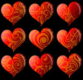 Set of nine decorative hearts — Stock Vector
