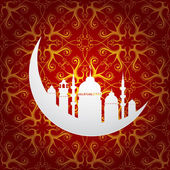 Ramadan holy month symbol with moon and mosque — Stock Vector