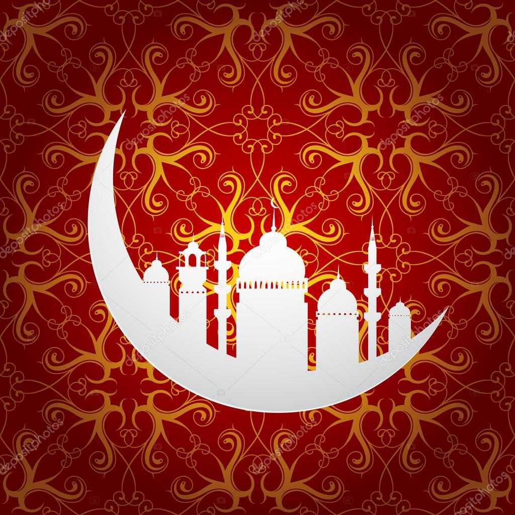 Ramadan holy month symbol with moon and mosque — Stock Vector © akv ...