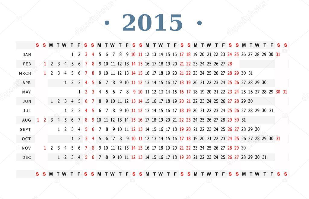 горизонтальный вектор шаблон для календаря 2015.  Вектор автора akv_lv.