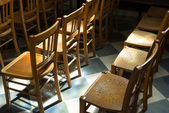 Chairs in Church — Stock Photo