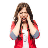 Frustrated business woman screaming — Stock Photo