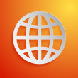 Paper globe icon on orange background. Vector illustration — Stock Vector