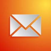 Mail white icon on orange background. Vector illustration — Stock Vector