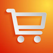 Shopping cart white icon on orange background. Vector illustration — Stock Vector