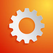 White gear icon on orange background. Vector illustration — Stock Vector