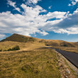 Road in mountains. Asphalt Road in Romania Carpathian mountains - Stock Photo