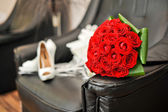 Wedding bouquet with red roses — Stok fotoğraf