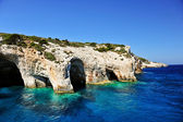 Famous caves with crystal clear waters on Zakynthos island (Greece) — Stock Photo