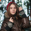Portrait of young beautiful girl in winter style — Stok fotoğraf