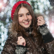 Portrait of young beautiful girl in winter style — Stockfoto
