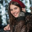 Portrait of young beautiful girl in winter style - Stock Photo