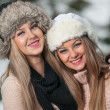 Royalty-Free Stock Photo: Attractive young women in a winter fashion shot.Winter wild girls on snow