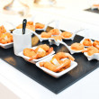 Assorted savoury snacks on festive table .Holiday Appetizers  — Stock Photo