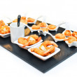 Assorted savoury snacks on festive table .Holiday Appetizers - Stock Photo