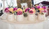 Classic floral arrangement in vases — Stock Photo