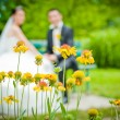 Newly-married couple and flowers in the foreground. - Stock Photo