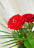 Anéis de casamento com flor rosa — Foto Stock