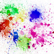Splashes of colorful ink on white background.Abstract colorful splash watercolor art hand paint on white background — Stock Photo