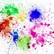 Splashes of colorful ink on white background.Abstract colorful splash watercolor art hand paint on white background — Stock Photo #22831378
