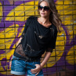 Beauty girl posing fashion near red brick wall on the street .Young woman with sun glasses against a graffiti wall — Stock Photo #22880942