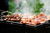 Barbecue in the forest.shashlik at nature.Process of cooking meat on barbecue, closeup.Barbecue with meat in metal grate, closed-up in forest with grass — Stock Photo