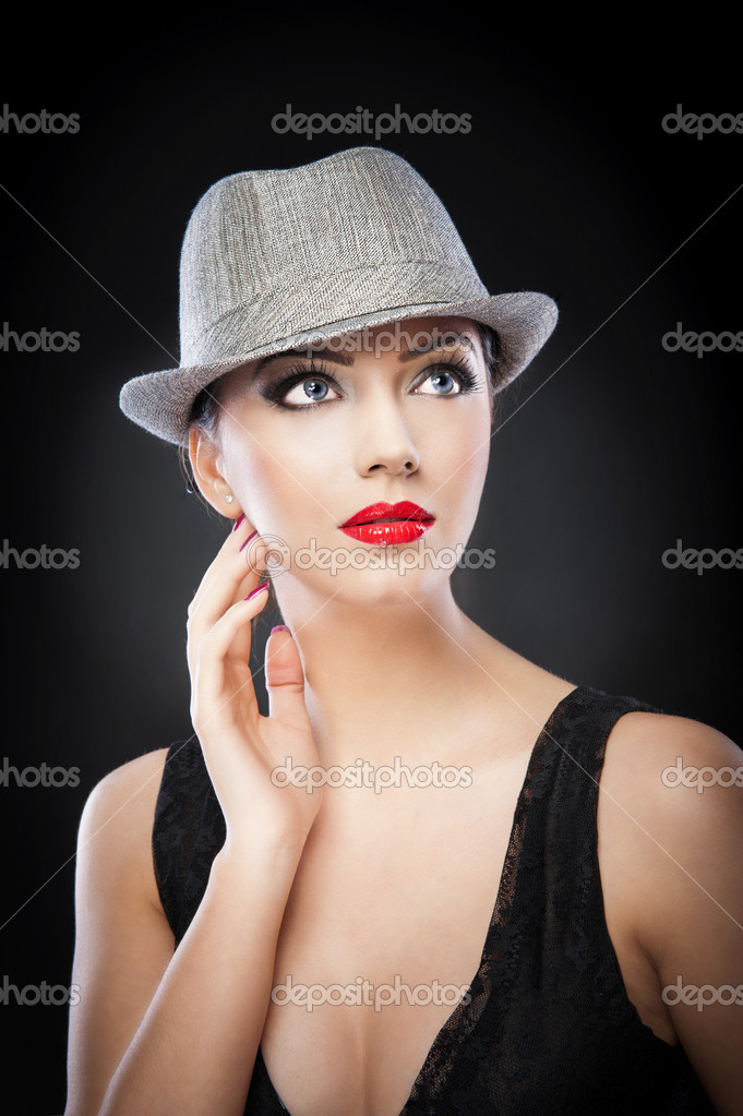 Beautiful Woman Portrait Fashion Art Photo Beautiful Young Model In Hat On The Background In