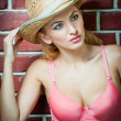 Attractive blonde girl with straw hat and pink bra.Beautiful young woman with straw hat and pink bra against a brick wall.Gorgeous blond haired blue eyes while wearing a straw cowboy hat. — Stock Photo