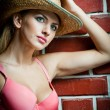 Attractive blonde girl with straw hat. Beautiful young woman with straw hat and pink bra against a brick wall.Gorgeous blond haired blue eyes while wearing a straw cowboy hat. — Stock Photo