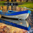 colorful autumn landscape with boat. nature background with boat — Stock Photo