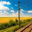 Railway goes to horizon in green and yellow landscape under blue sky with white clouds.railway under cloudy sky.Scenic railroad in rural area in summer and blue sky with white clouds. — Stock Photo #26882375