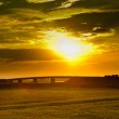 Sunset with dramatic sky over agricultural green field with a bridge. Green field and bridgeat the sunset. Wheat field at sunset — Stock Photo