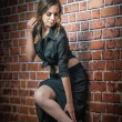 Charming young brunette woman in black dress and high heels near the brick wall.Sexy gorgeous young woman near old wall.Full length portrait of a cute woman with long hair near a brick wall — Stock Photo #29795003