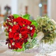 Beautiful wedding bouquet with red roses — Stok fotoğraf