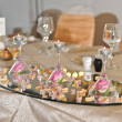 Wedding decorations with candles and roses — Stock Photo #30117713