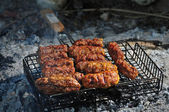Barbecue with meat in metal grate, close up — Photo