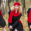 Attractive young woman in a autumn fashion shoot. Beautiful fashionable young girl with red umbrella , red cap and red scarf in the park — Stock Photo