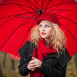 Attractive young woman in a autumn fashion shoot. Beautiful fashionable young girl with red umbrella, red cap and red scarf in the park. — Stock Photo #33227529