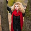 Attractive young woman in a autumn fashion shoot. Beautiful fashionable young girl with red scarf in the park. Blonde women with red accessories posing outdoor. Nice fair hair girl between two trees — Lizenzfreies Foto