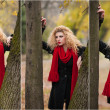 Attractive young woman in a autumn fashion shoot. Beautiful fashionable young girl with red scarf in the park. Blonde women with red accessories posing outdoor. Nice fair hair girl between two trees — Stock Photo