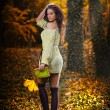 Young caucasian sensual woman in a romantic autumn scenery .Fall lady .Fashion portrait of a beautiful young woman in autumn forest. Beauty autumn — Stockfoto
