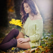 Young caucasian sensual woman in a romantic autumn scenery .Fall lady .Fashion portrait of a beautiful young woman in autumn forest. Beauty autumn — Stock Photo #34905241
