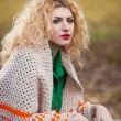 Beautiful woman posing in park during autumn season. Blonde girl wearing green blouse and big shawl posing outdoor. Long fair hair girl with green sweater under a shawl relaxing in autumnal park. — Foto Stock #35111397