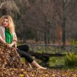 Beautiful woman posing in park during autumn season. Blonde girl wearing green blouse and big shawl posing outdoor. Long fair hair girl with green sweater under a shawl relaxing in autumnal park. — 图库照片 #35111427