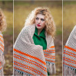 Beautiful woman posing in park during autumn season. Blonde girl wearing green blouse and big shawl posing outdoor. Long fair hair girl with green sweater under a shawl relaxing in autumnal park. — Foto Stock