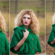 Beautiful woman posing in park during autumn season. Blonde girl wearing green blouse posing outdoor. Long fair hair girl with green sweater in autumnal park. — Stock Photo