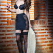Stock Photo: Beautiful brunette womin black sensual lingerie posing provocatively in front of brick wall. Young model wearing black stockings posing pretty. Caucasimodel standing near red brick wall