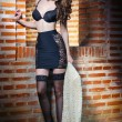 Beautiful brunette womin black sensual lingerie posing provocatively in front of brick wall. Young model wearing black stockings posing pretty. Caucasimodel standing near red brick wall — Stock fotografie #35284769