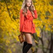 Beautiful elegant woman with orange coat posing in park in autumn. Young pretty woman with blonde hair spending time in autumnal park. Long legs sensual blonde with black leggings waking in forest — Stock Photo