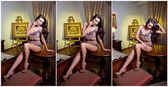 Attractive woman in lingerie posing challenging on a table. Portrait of woman with long legs and high heels. Sensual woman sitting on the table posing provocatively looking directly into the camera — Stock Photo